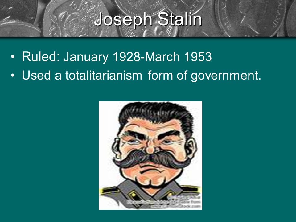 joseph stalin ruled the soviet union Following joseph stalin's consolidation of power in the 1920s the post of the general secretary of the central committee of the communist party became synonymous with 'leader of the soviet union' because the post controlled both the cpsu and the soviet government the post of the general secretary was abolished in 1952 under stalin.