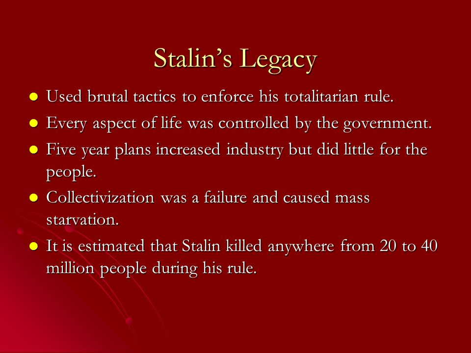 stalin's use of the lenin legacy Kids learn about the biography of vladimir lenin, communist revolutionary and  founding father  legacy lenin is remembered as the founder of the soviet  union his ideas on marxism and  stalin, however, was already too powerful  and succeeded lenin after his death  by using this site you agree to the terms  of use.
