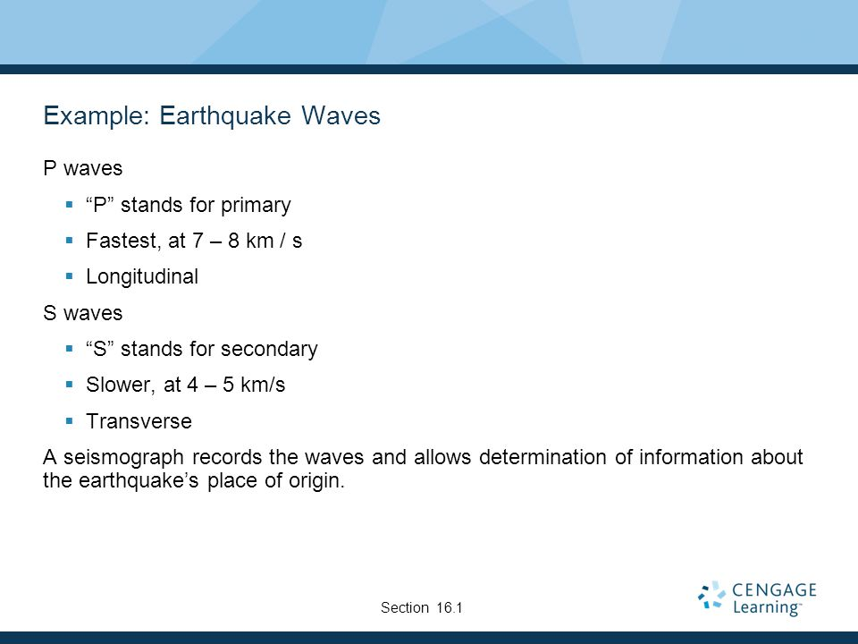 Example: Earthquake Waves