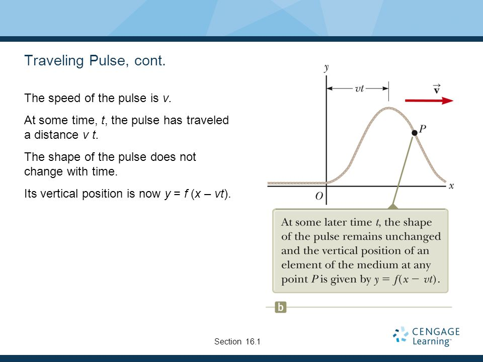 Traveling Pulse, cont. The speed of the pulse is v.