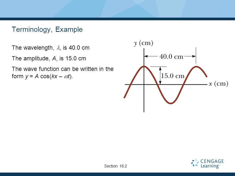 Terminology, Example The wavelength, l, is 40.0 cm