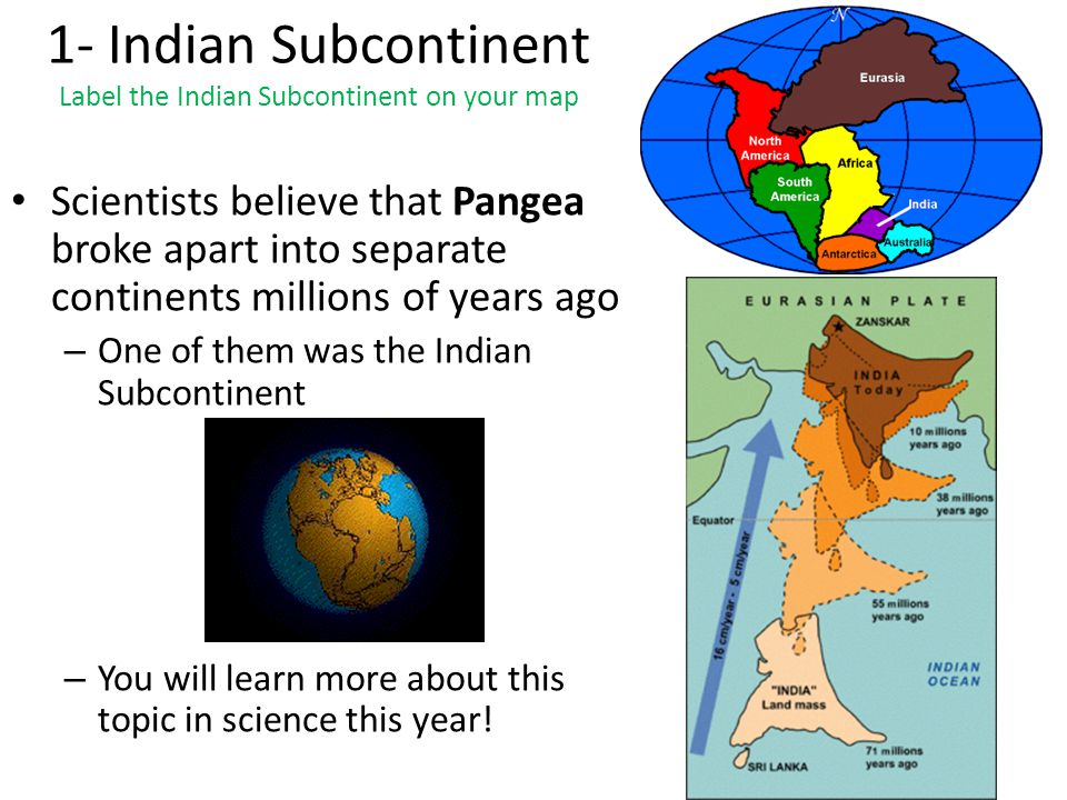 the movement into the indian subcontinent First of all, it will not continue forever if you take a look at earth's history, change is the only constant indian land mass is already being compressed sideways due to resistance to movement in north and from sediment mass (which is a lot.