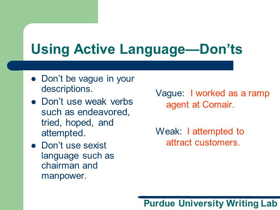 Using Active Language—Don'ts