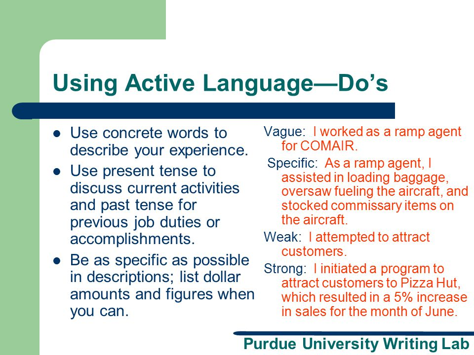 Using Active Language—Do's