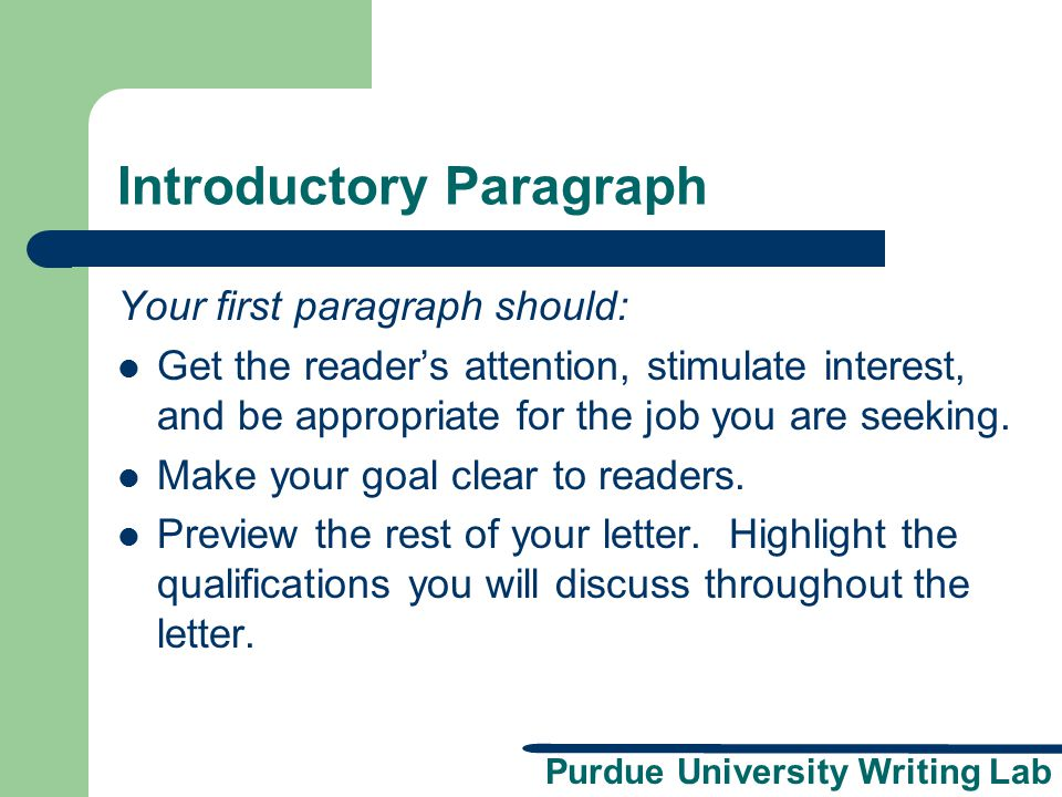 Introductory Paragraph