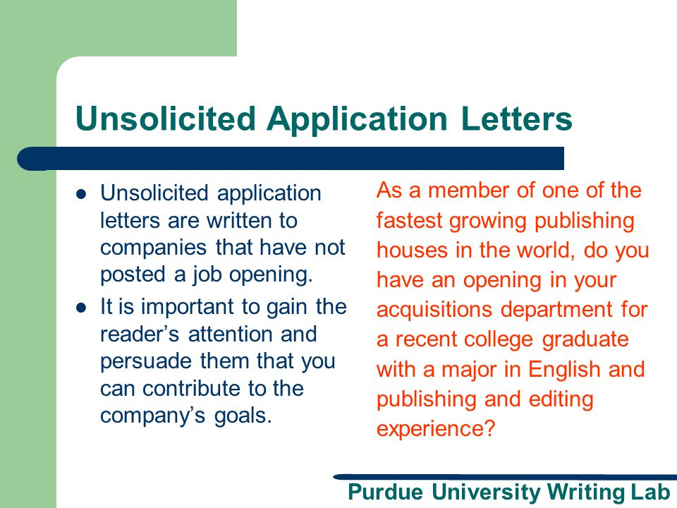 Unsolicited Application Letters