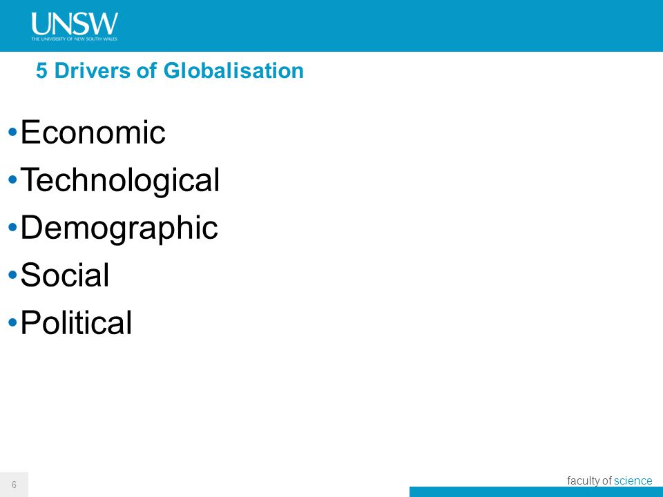 political drivers of globalization We will also identify and discuss some of the main technological and political sources or drivers of globalization in the contemporary world economy throughout the section we will also address one of the most interesting questions regarding economic globalization today, a question that concerns the degree of novelty of.