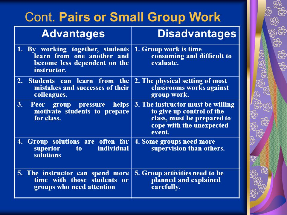 Advantages and disadvantages of working in a group essay
