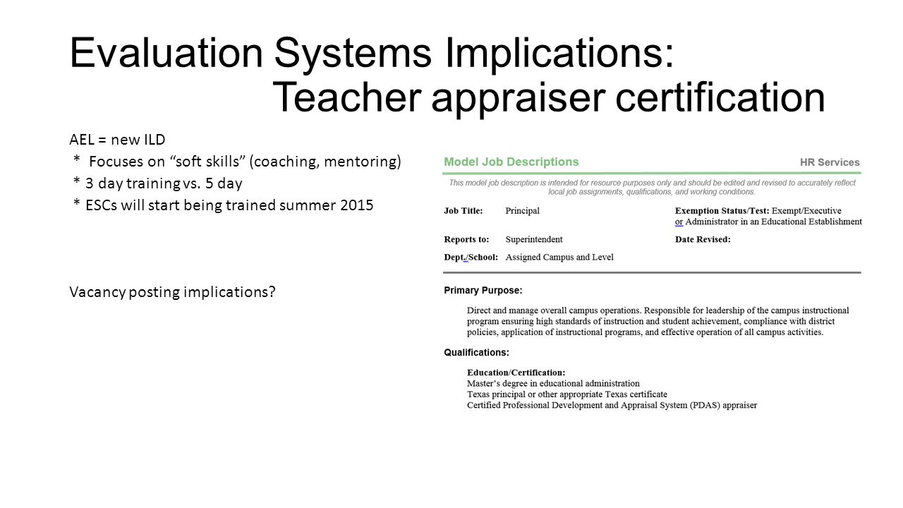 Human resources advisory council ppt download evaluation systems implications teacher appraiser certification 1betcityfo Gallery