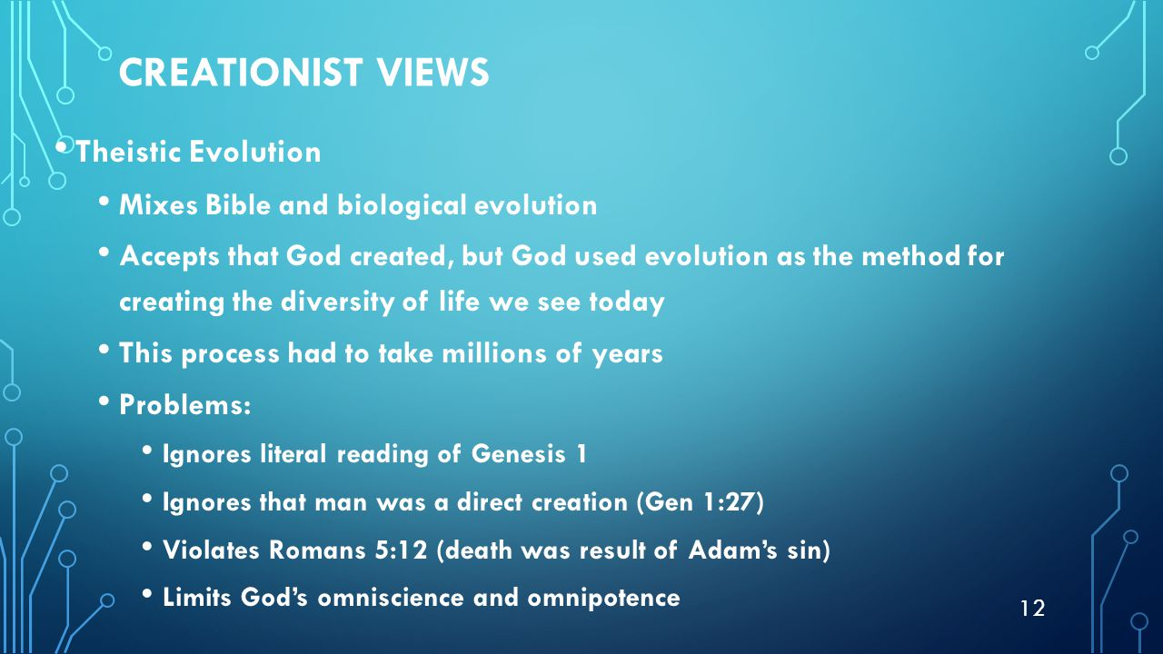 creationist view of the origin of life and process of evolution Americans' creationist views on human origins views of the origin of the depicted in the book of genesis or guided a process of evolution.