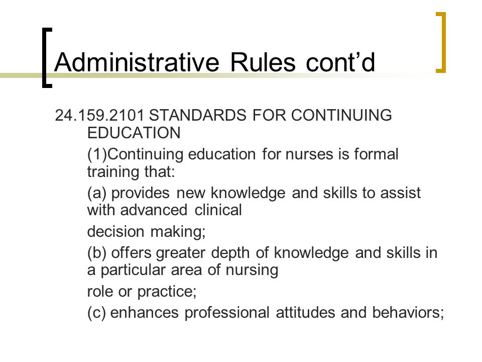 Administrative Rules cont'd