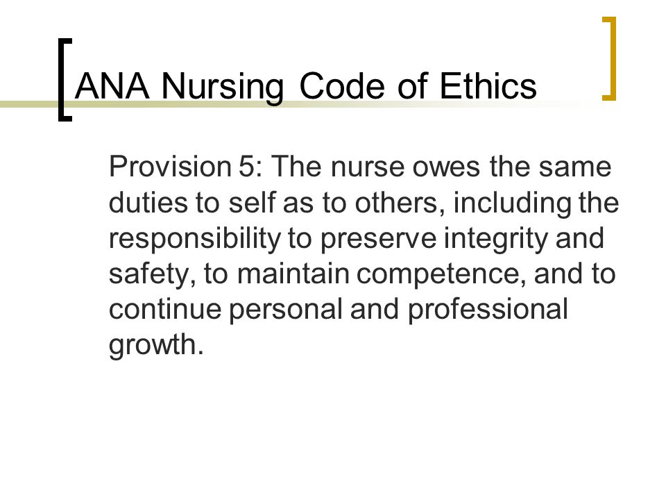 ANA Nursing Code of Ethics
