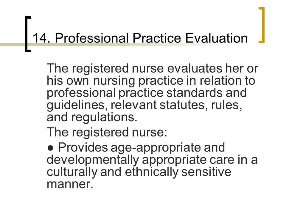 14. Professional Practice Evaluation