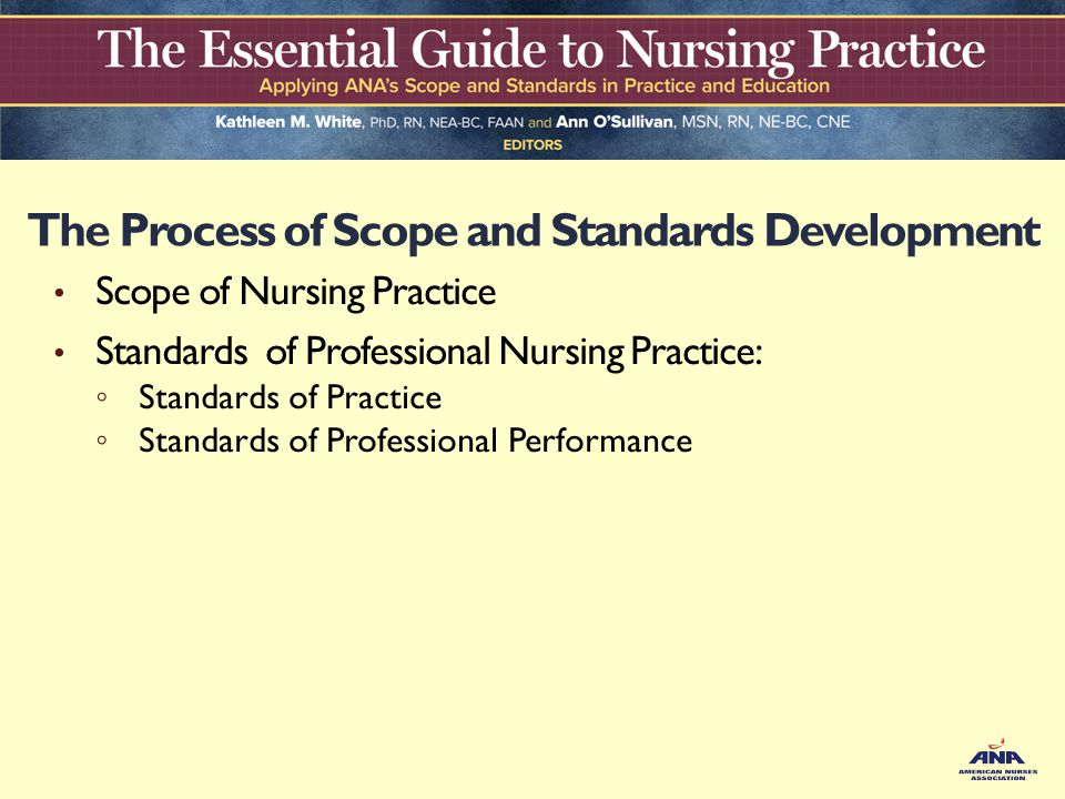 developing nursing standards of practice 2 essay Outline the process for developing nursing standards of practice, and identify the different entities that might be involved in developing a standard of practice.