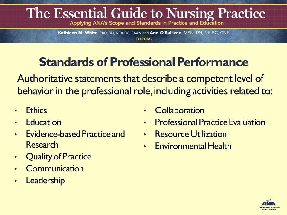 leadership professional standards for nurses Leadership professional standards  each nurse shows leadership by providing, facilitating, and promoting the best possible care to the public all nurses regardless of their position, have opportunities for leadership leadership requires self-knowledge how do your personal beliefs, values.