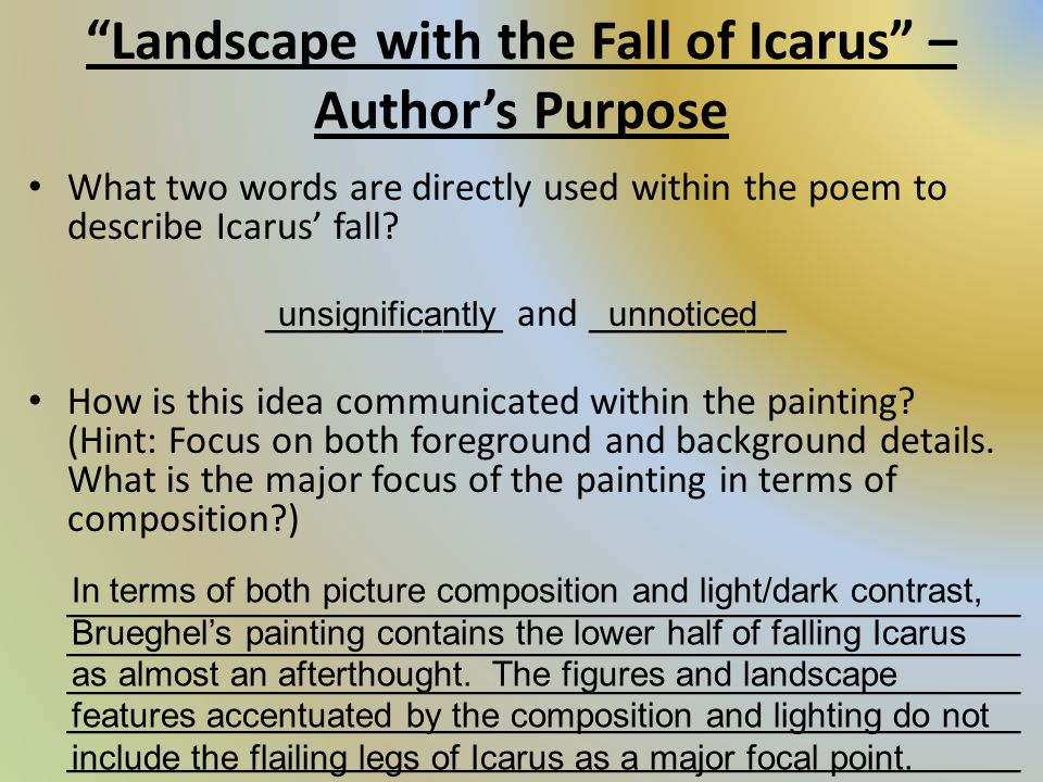 compare and contrast fall of icarus Compare and contrast log in × scroll to top landscape with the fall of icarus essay examples 1 total result an analysis of landscape with the fall of icarus,.