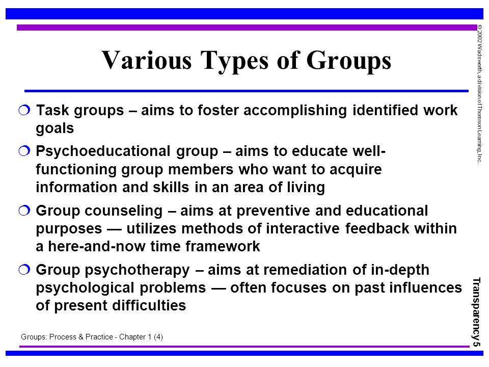 task groups and therapy groups • task/work • psychoeducational/guidance • counseling • therapy by nature, counseling and therapy groups seem more appropriate for persons.