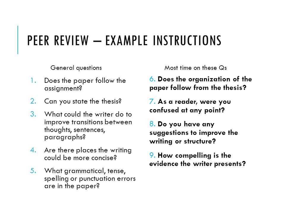 Peer review essay