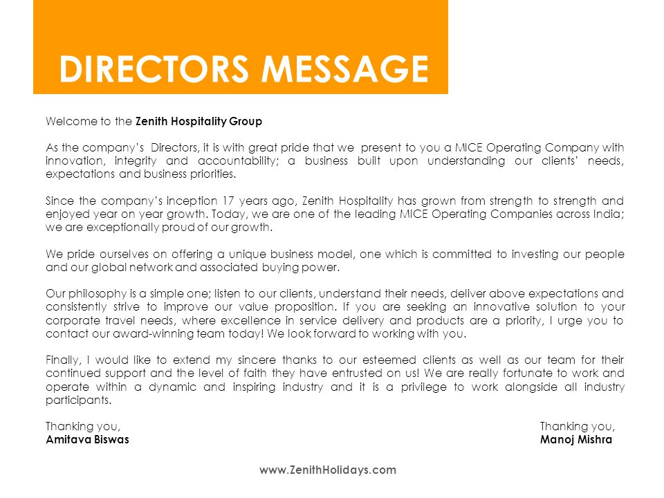 welcome to zenith welcome to zenith directors message