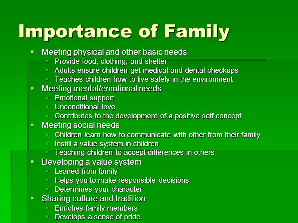 Importance of family relationships