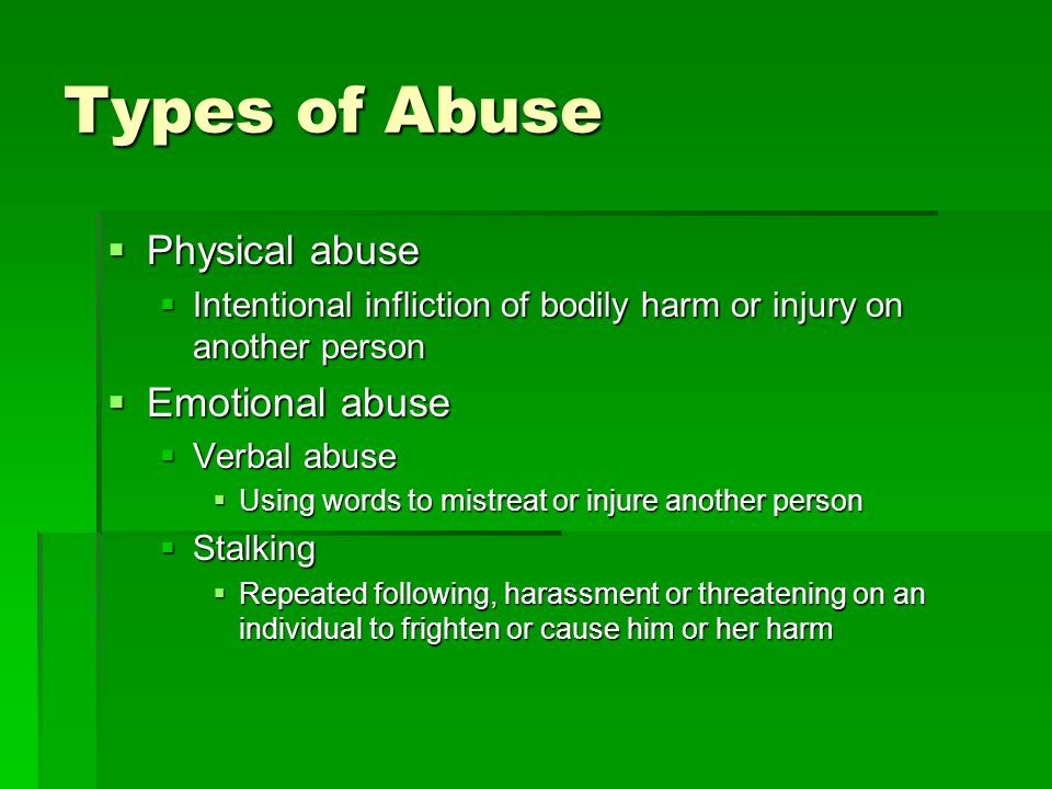 types of dating abuse Consequences of dating violence dating violence can have serious consequences while the immediate impact might be humiliation and/or physical pain, young people who experience abuse are.
