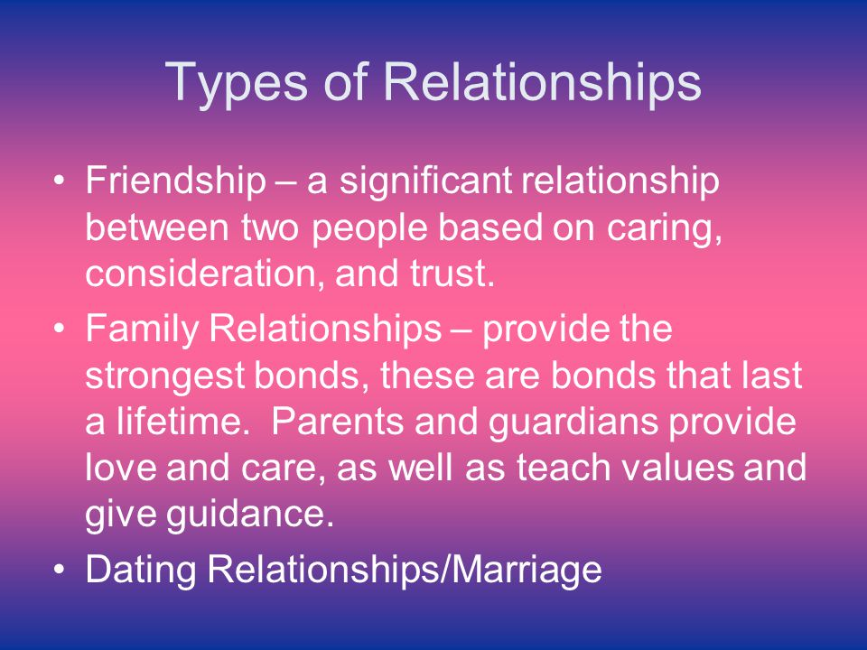 different types dating relationships