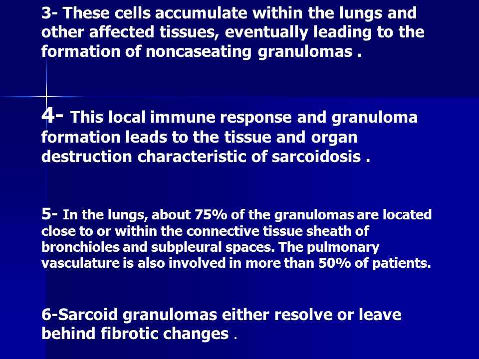sarcoidosis a disease of unknown cause Sarcoidosis a disease of unknown cause featuring granulomas in many parts of the body, especially in the lymph nodes, liver, lungs, skin and eyes.