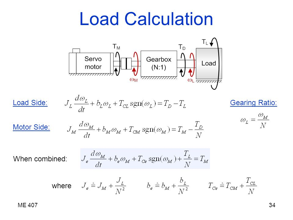 servo motor load calculation