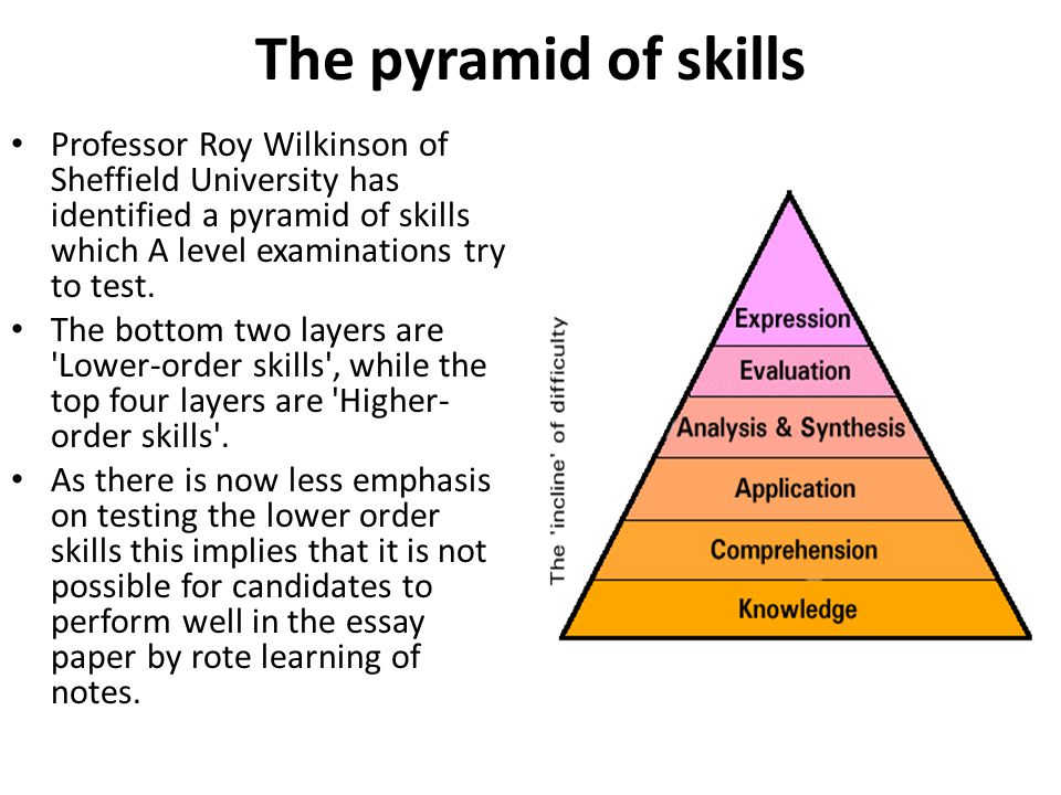 as a level business studies essay writing ppt video online  the pyramid of skills professor roy wilkinson of sheffield university has identified a pyramid of skills