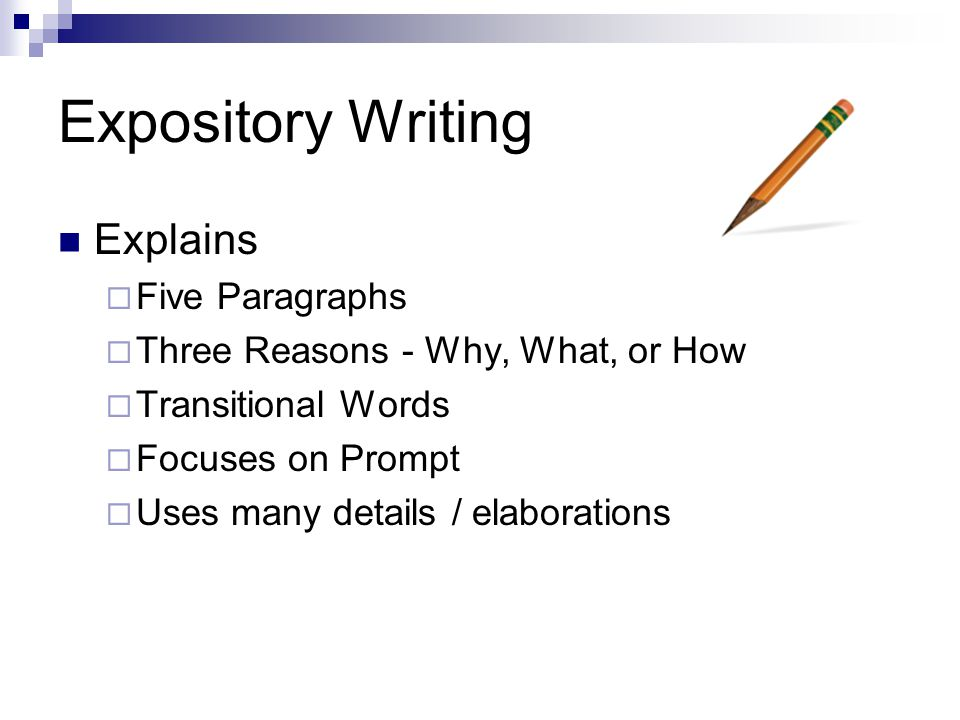 characteristics of expository writing Characteristics of expository writing expository writing explains an idea and thing with a thorough analysis it is written to instruct or enlighten people and also includes relevant evidences and mainly, it gives a clear conception about the topic.