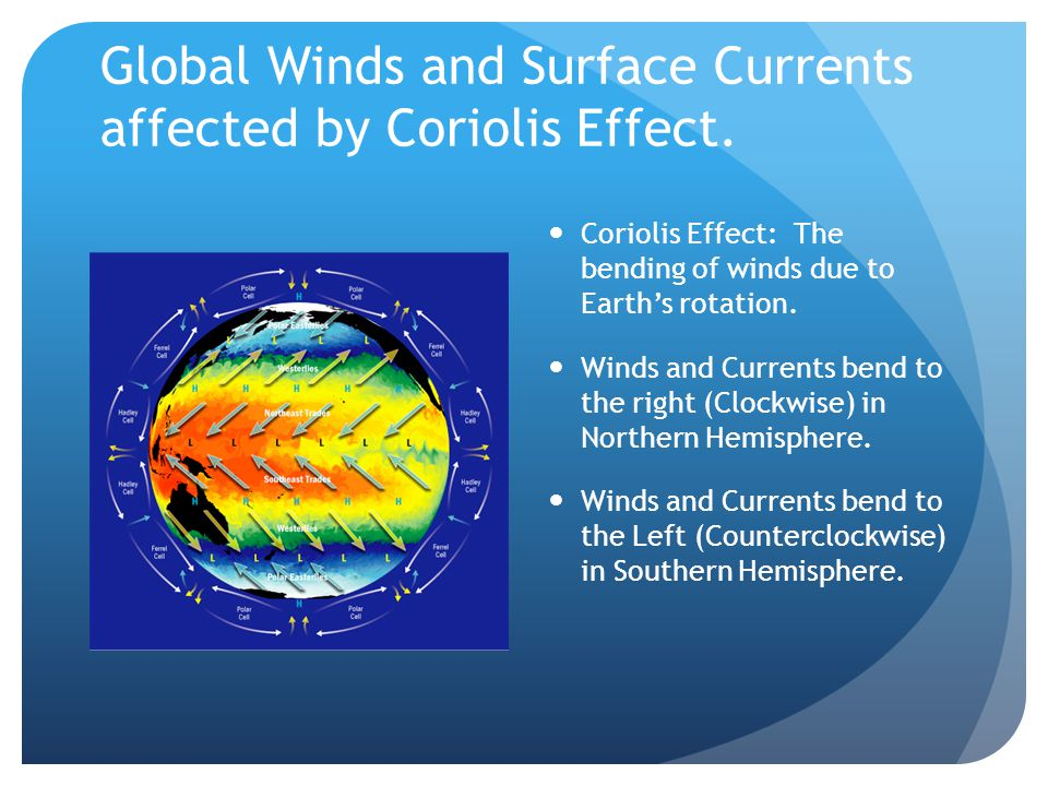 Global Winds and Surface Currents affected by Coriolis Effect.