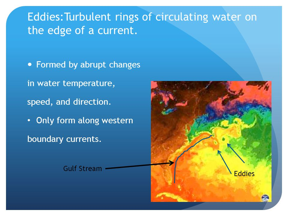 Eddies:Turbulent rings of circulating water on the edge of a current.