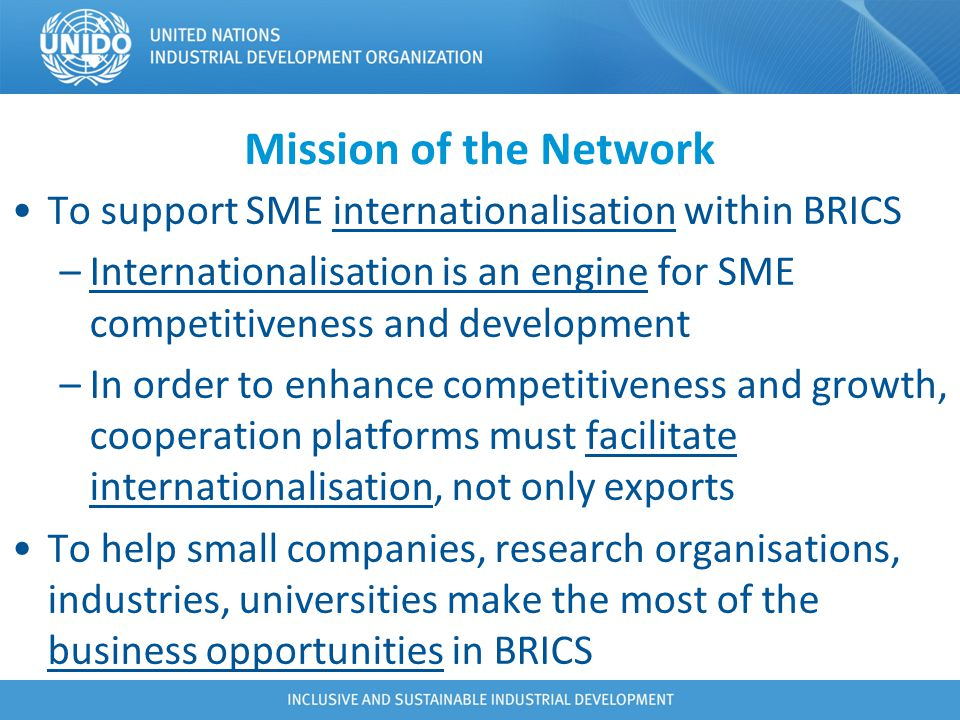 Mission of the Network To support SME internationalisation within BRICS. Internationalisation is an engine for SME competitiveness and development.