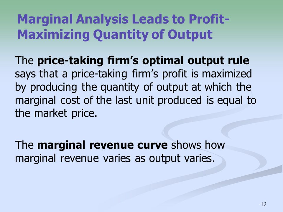 marginal analysis and profit maximization We combined our survey data with detailed financial information contained in the  fame (financial analysis made easy) database, which allowed us to verify.