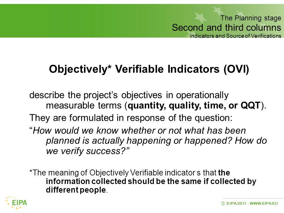 Objectively* Verifiable Indicators (OVI)