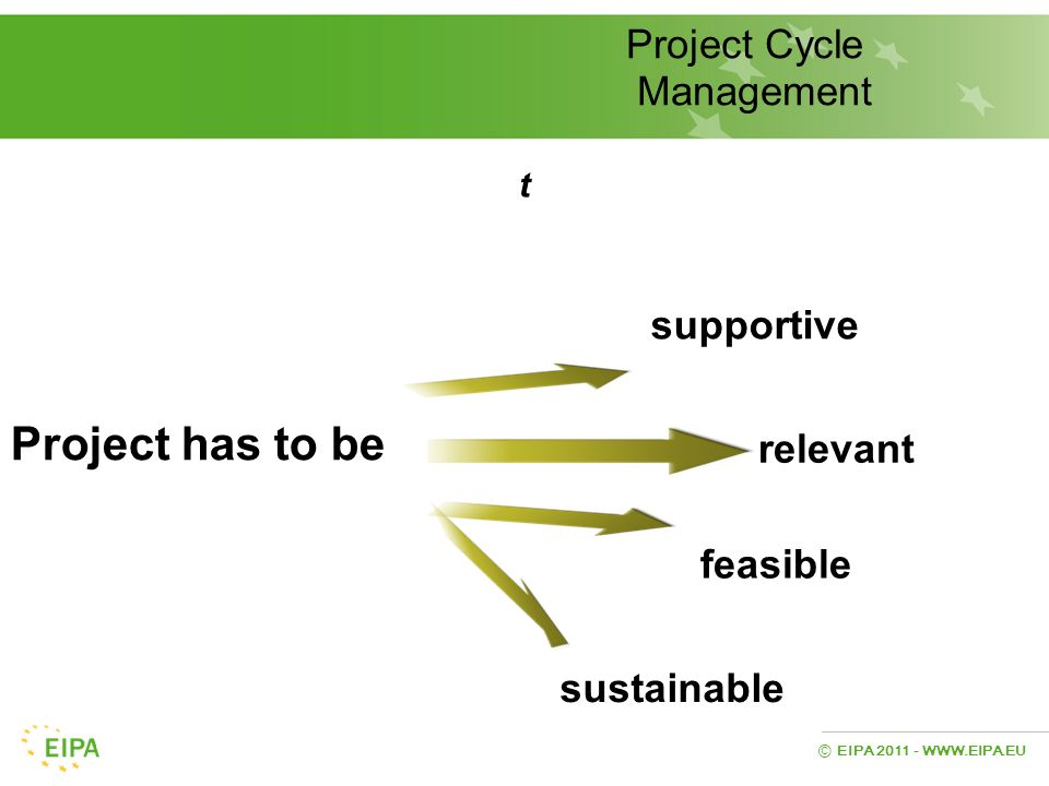 Project has to be Project Cycle Management supportive relevant