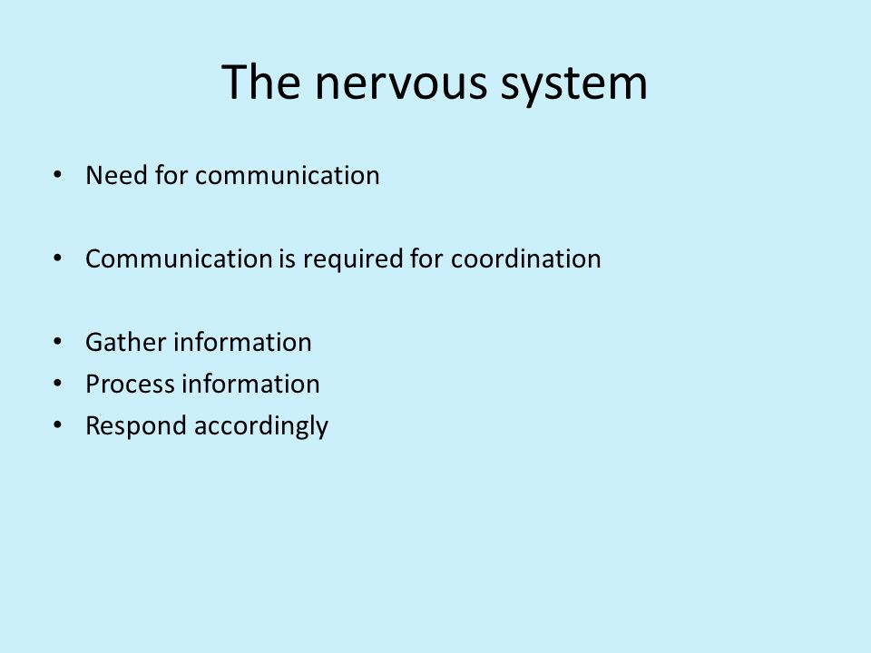 The nervous system Need for communication