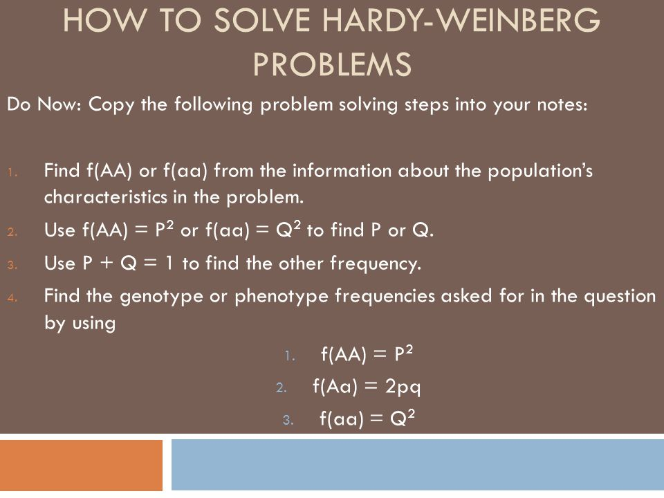How To Solve Hardy Weinberg Problems Ppt Video Online Download