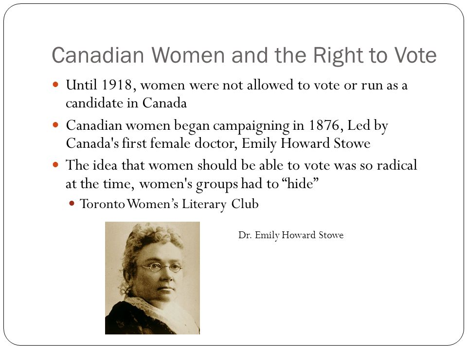 Emily stowe and the womens suffrage movement of canada
