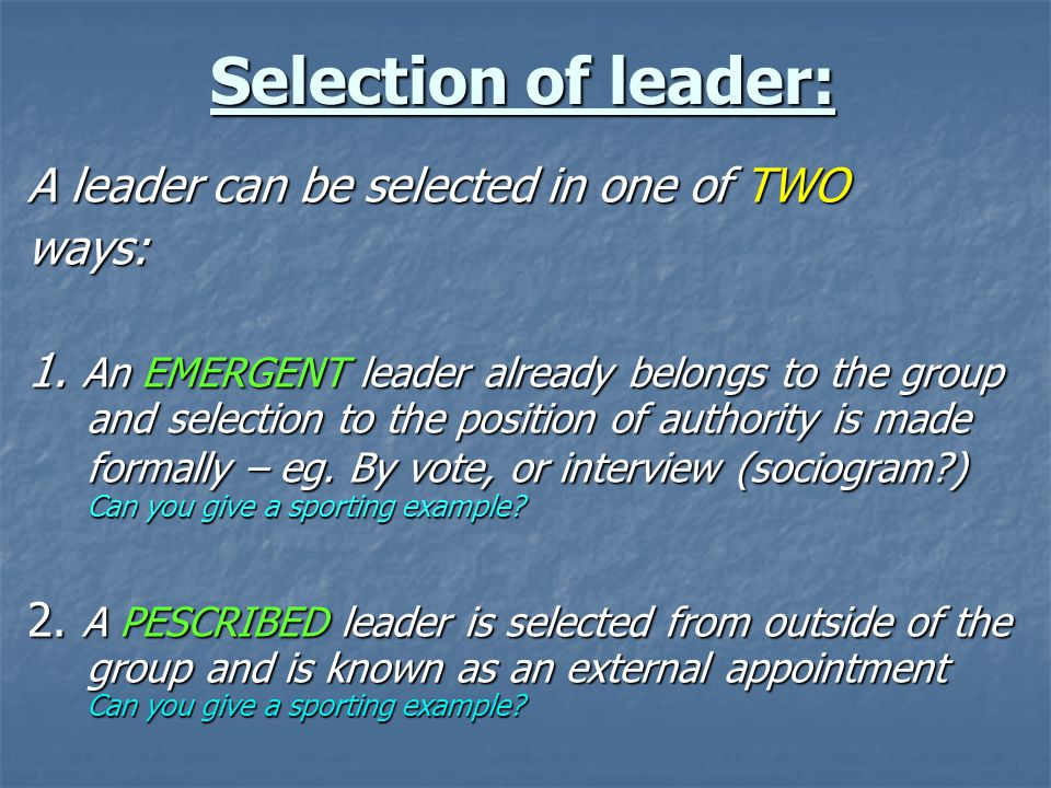 Leadership Review Process & Selection Criteria
