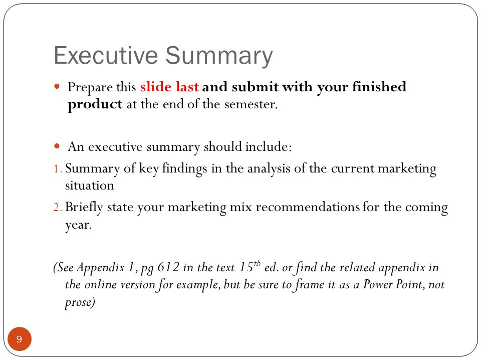 executive summary marketing mix Starbuck media plan executive summary the overall goal of this media plan for starbucks is to increase market share of the non-coffee drinker to ensure market growth, starbucks needs to reposition and increase awareness of its current products, for example the frappuccino line, other products that are in need of.