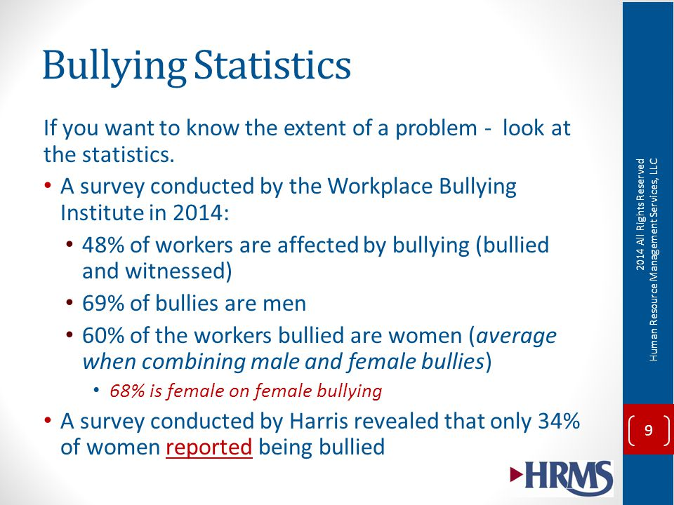 attitude survey on bullying • conduct periodic employee attitude surveys to determine if workplace bullying is not being reported 21 examine the impact of bullying objective 4 22 impact to the organization cost low morale and productivity employees  a deeper look into workplace bullying author: msdebora.