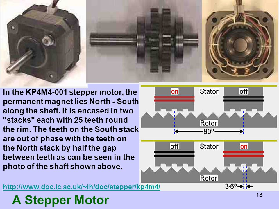 a summary of stepper motors and Brushed dc motors rotate continuously when dc voltage is applied to their terminals the stepper motor is known by its property to convert a train of input pulses (typically square wave pulses) into a precisely defined increment in the shaft position.
