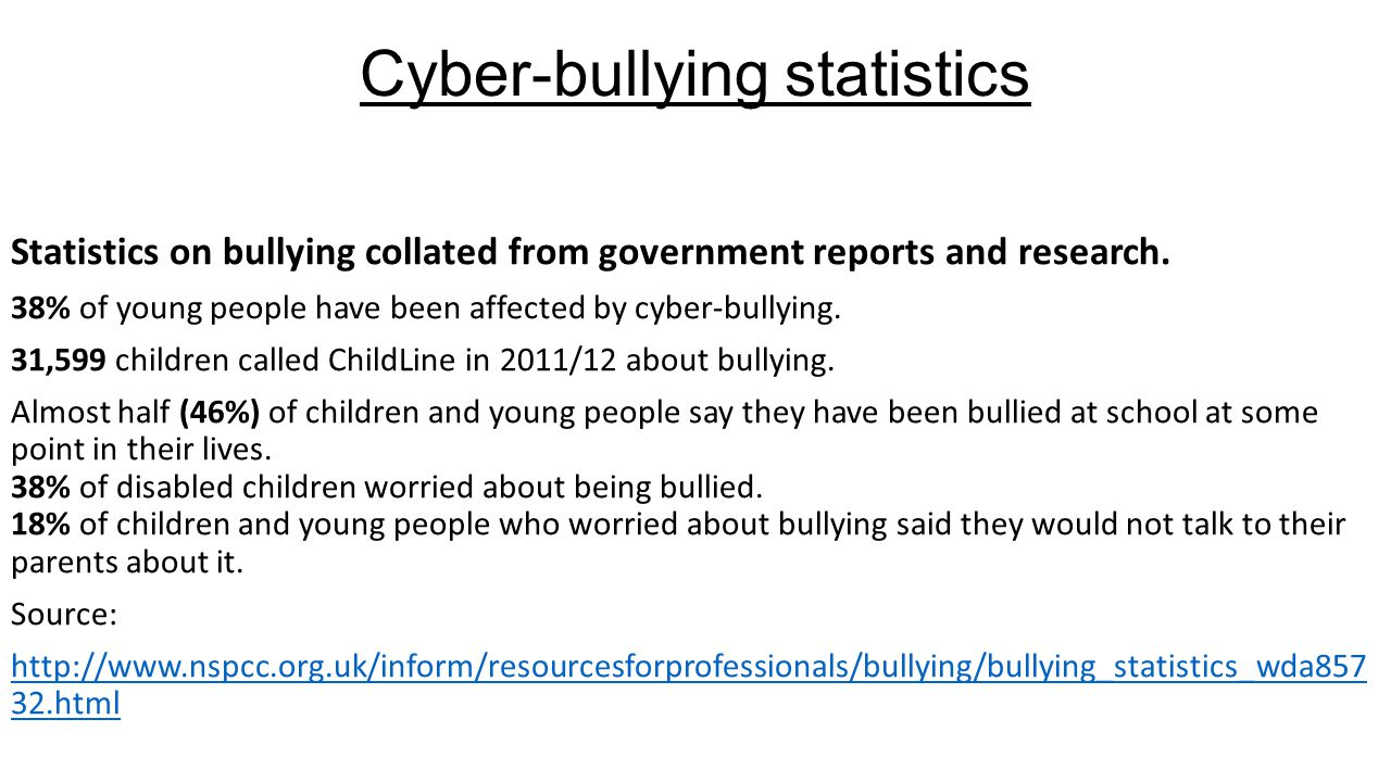 research about bullying Bullying is a serious and widespread phenomenon: 20 % of the danish children that we analyze are reported by their parents and/or teacher to be victims of bullying (similar numbers are reported by eg brown and taylor (2008) for britain and nordhagen et al (2005) for.