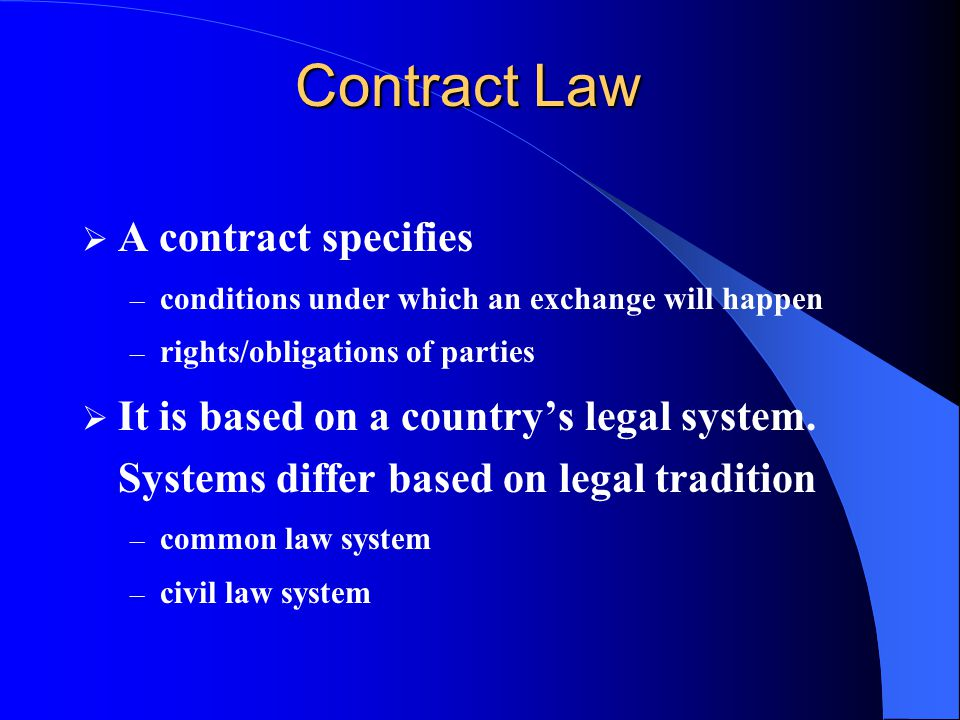 Contract Law A contract specifies
