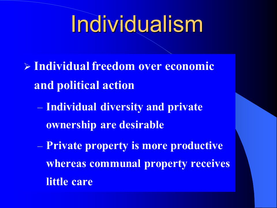 Individualism Individual freedom over economic and political action