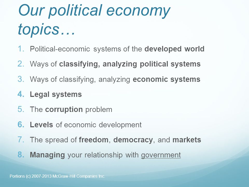 Our political economy topics…