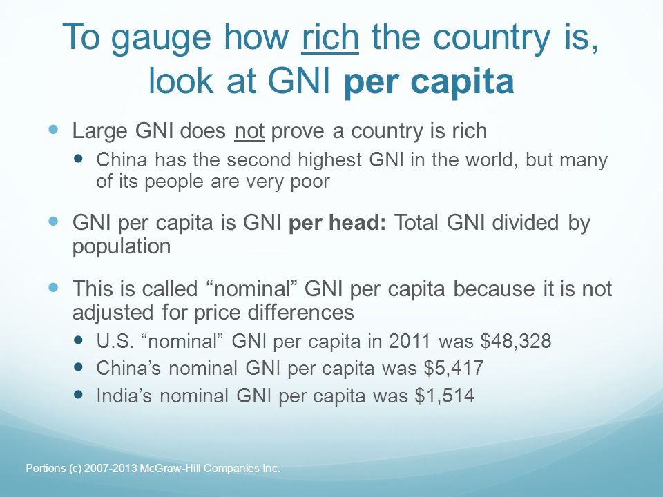 To gauge how rich the country is, look at GNI per capita