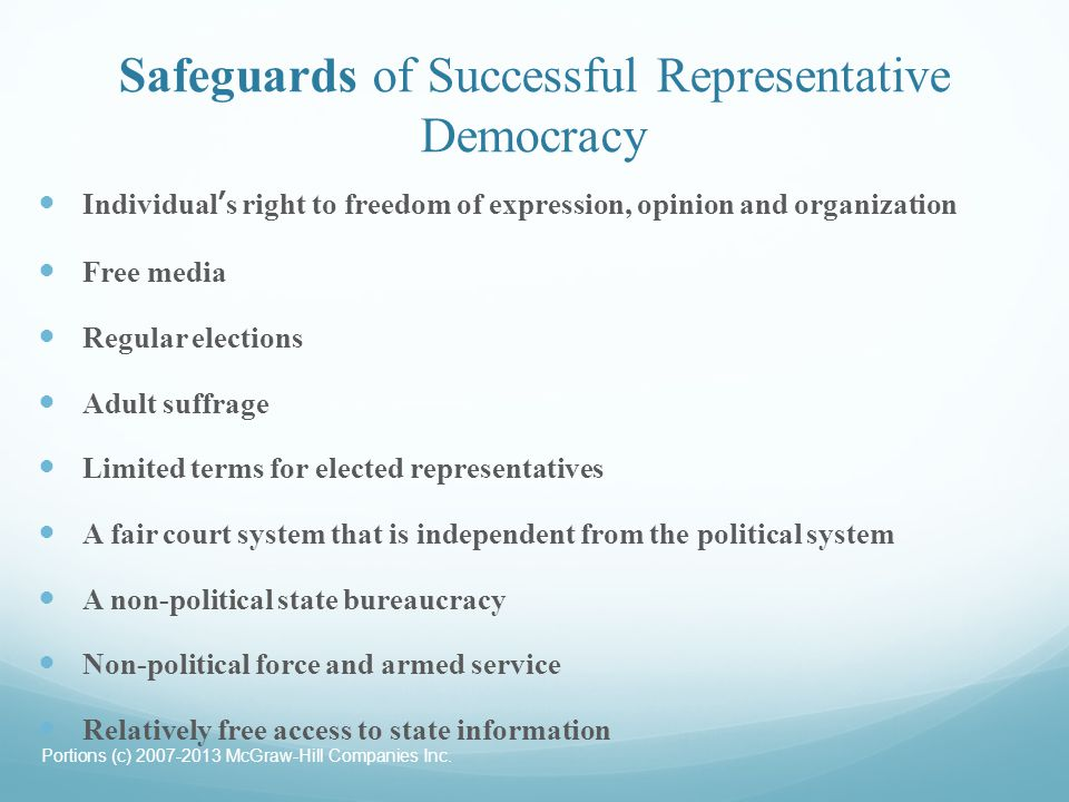 Safeguards of Successful Representative Democracy