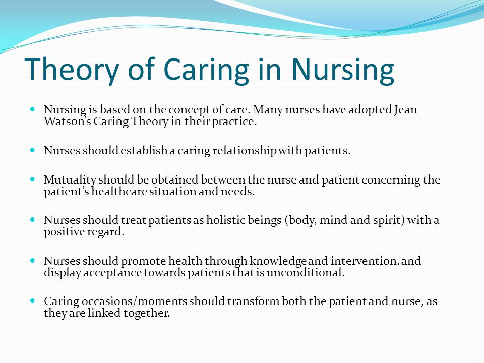 jean watsons nursing theorya nd philosophy essay Free essay: introduction jean watson's transpersonal theory of caring is about the need for the nurse to care for the patient's values and experiences along.